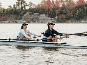 Hannah Elliott, left, and Fiona Elliott, 17-year-old twin sisters from Sarnia, have been training as rowers since taking part in a Canadian Olympic Committee talent search in 2019.