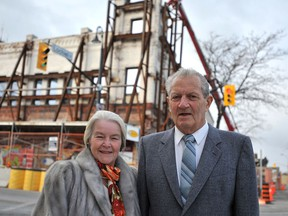 Judith and Norman Alix are shown in this file photo outside the downtown Sarnia public art gallery named for the couple who financially supported the project.