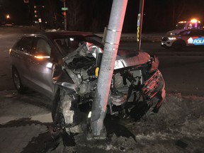 The driver of this SUV has been charged with impaired operation by drug and dangerous operation of a vehicle. Police photo