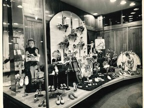 """Shoes, glorious shoes! This selection was featured in the window at Bucovetsky's Department Store in Timmins in the 1940s, and features a variety of sports footwear (""""Genuine Keds and Kedettes!"""").  Supplied/Timmins Museum"""