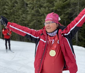 Anne Howlett celebrates after winning gold in the 2.5-kilometre classic, her second cross country skiing gold medal at the 2020 Special Olympics Canada National Winter Games in Thunder Bay, March 2020. Howlett has been named to the Special Olympics Team Canada 2022 Training Squad ahead of the  next next Special Olympics World Winter Games. Photo supplied.
