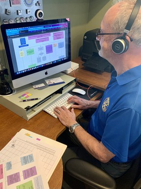 Southampton Rotarian Tony Sheard volunteers as a virtual call centre advisor for the Community Connections COVID-19 vaccination help line. Community Connection provides the 211 Service in Ontario. SUBMITTED