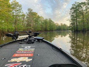 The Sabine River features many backwater channels and canals that are lined with cypress trees, it's pretty but the fishing is tough.