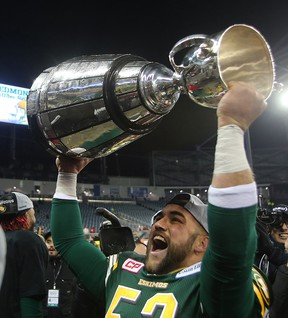 Sherwood Park's Ryan King celebrates after helping Edmonton's CFL squad to the 2015 Grey Cup title. Brian Donogh/Postmedia Network