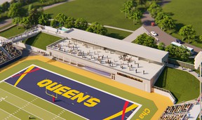 An artist's rendering of the pavilion to be constructed in the north end zone of Richardson Stadium at Queen's University in Kingston. The pavilion is scheduled to be completed in 2023.