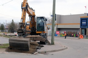 Work is underway on the West Link project at the intersection of Main Street West-Murray Street-Oak Street-Memorial Drive. PJ Wilson/The Nugget