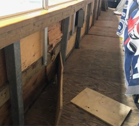 Damage was caused to the boards at the Port Dover arena after individuals broke into the facility and took a Zamboni on a joyride.