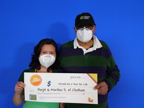 Chatham couple Marilou and Harjit Singh won the second prize from the April 12 draw of the Daily Grand lottery.