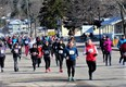 Runners take to the streets of Powassan prior to the Maple Hill Sap Run. Last year and again this year, the run is organized as a virtual event where participants run in their own community Saturday or Sunday and choose their own route. Photo submitted by Jared Dupuis