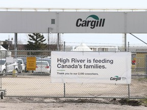 A sign is shown outside the Cargill facility in High River, AB, south of Calgary on Wednesday, May 6, 2020.