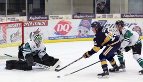 The Spruce Grove Saints finished their cohort series against the Drayton Valley Thunder with a 2-2 split after a 4-1 loss Saturday night at the Grant Fuhr Arena.
