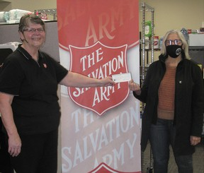 Major Connie Armstrong of the Salvation Army (left) accepted a $3,000 cheque for the Port Elgin Food Bank from Michele Wake, president of the Women's PROBUS Club of Saugeen Shores on behalf of its members and in celebration of PROBUS Month in April. [Supplied]