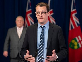 Labour Minister Monte McNaughton is pictured at a Queen's Park press conference on April 8, 2021.