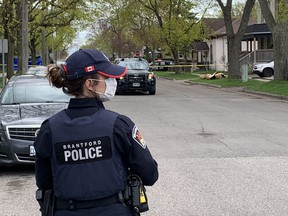 Brantford Police closed streets a block in each direction from a incident that left one man dead at an Alfred Street home Saturday afternoon.