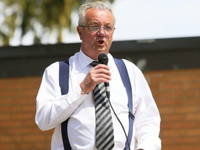Independent MPP Randy Hillier speaks at an anti-restrictions protest at Tecumseh Park in Chatham, Ont., on Monday, April 26, 2021. (Mark Malone/Postmedia Network)