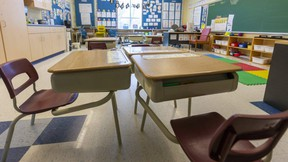 Empty classrooms in London. Photograph taken on Friday May 1, 2020. (Mike Hensen/The London Free Press)