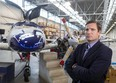 Diamon Aircraft CEO Scott McFadzean stands next to a flagship DA62 under construction at their Crumlin Sideroad facility on Thursday, April 29, 2021. The twin engine DA62 sells for about $2 million and will be subject to a new luxury tax introduced in the latest federal budget. The carbon fibre DA62 can be built to carry five or seven people and can cruise at 20,000 feet for up to 1,000 nautical miles. (Mike Hensen/The London Free Press)