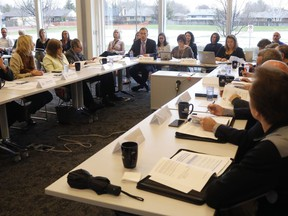 The counties' board of health is shown in a 2019 photo. During an April 7 meeting the board, which has since undergone some changes in membership, voted against higher priority for vaccination of education workers.