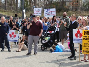 Several hundred people, including many from out of town, attended a No More Lockdowns protest on Saturday, April 10 in Simcoe.