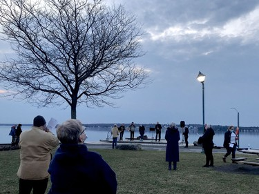 Congregants remain masked and physically distant during an Easter sunrise service at Centeen Park on Sunday morning. (RONALD ZAJAC/The Recorder and Times)