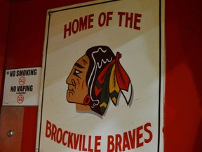 Brockville Jr. A Braves dressing room door at the Memorial Centre. File photo/The Recorder and Times