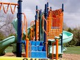 Like play structures across Ontario, this one at Sarah Spencer Park in Prescott was cordoned off Saturday. Town workers reopened the playgrounds on Sunday after the provincial government reversed course on some COVID-19 restrictions. (TIM RUHNKE/The Recorder and Times)