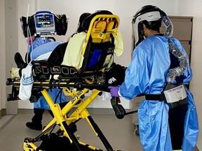 A patient is transferred to Brockville General Hospital from the Greater Toronto Area on April 23. (SUBMITTED PHOTO)
