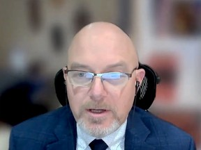 Don Lewis, of the Upper Canada District School Board, moderates an online session on youth fentanyl use. (SCREENSHOT)