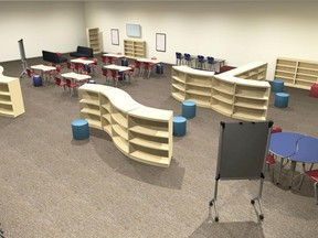 Construction continues at new Monsignor Uyen Catholic School in Chatham. Shown is the furniture for the Learning Commons. Handout