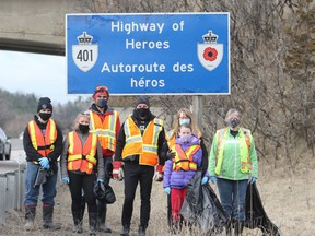 Handout Not For Resale Pete Fisher of Today's Northumberland provided this photo of several Cornwall residents, including Jacob and Rachelle Doth, Sebastian Warner as well as Kieran, Laurie and Addison Kennedy and Colleen McKoy rolled up their sleeves on March 27, 2021, in order to clean parts of the Highway of Heroes. Handout/Cornwall Standard-Freeholder/Postmedia Network