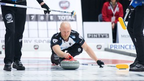 Sportsnet file photo  The Sault's Brad Jacobs delivers a rock in Grand Slam of Curling action