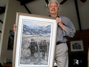 Kingston artist James Keirstead shows his painting on Princess Patricia's Canadian Light Infantry troops preparing for battle in the 1951 Battle of Kapyong in the Korean War, on Thursday, March 11, 2021. The painting will be unveiled in a virtual ceremony on Saturday, April 24, 2021.