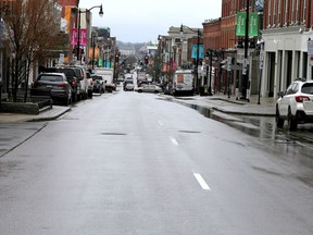Kingston residents seem to be following COVID-19 lockdown procedures as Princess Street is devoid of traffic just above Montreal Street on Thursday April 15, 2021.