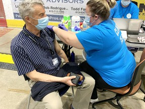 Dr. Robert Cushman, acting medical officer of health for the RCDHU, received his first dose of AstraZeneca COVID-19 vaccine at a clinic at the Pembroke Memorial Centre April 15.