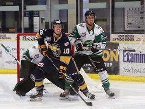 The Spruce Grove Saints dropped a 4-1 decision in Game 3 of the cohort series against the Drayton Valley Thunder Friday night at the Omniplex in Drayton Valley. The Saints and Thunder will wrap up the four game series Saturday night (April 24) at the Grant Fuhr Arena. Puck drop is 7:00 p.m. Photo by David Ross