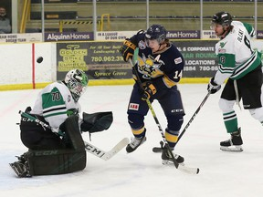 The Spruce Grove Saints picked up a pair of 4-3 victories last weekend in the first two games of the cohort series against the Drayton Valley Thunder. Photo by David Ross