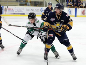 The Spruce Grove Saints were defeated 7–4 by the Drayton Valley Thunder Saturday night at the Drayton Valley Omniplex.