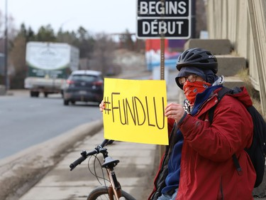 Laurentian and its federated universities' students, alumni, faculty, staff and community members, organized as Save Our Sudbury, participated in a rally in Sudbury, Ont. on Tuesday April 6, 2021.