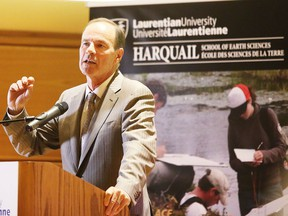 David Harquail, president and chief executive officer of Franco Nevada, addresses the crowd at a Laurentian University press conference  in Sudbury in this file photo. Harquail announced his family foundation is investing $10 million in Laurentian University's Department of Earth Sciences and its Mineral Exploration Research Centre (MERC). Ken Coates writes Canada needs to get in on the hunt for strategic minerals. Gino Donato
