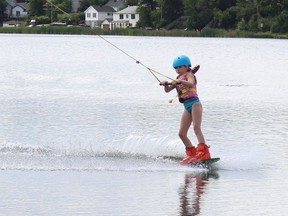 """Timmins council was told tourism marketing will focus largely on """"staycations,"""" encouraging Ontarians to in-province attractions. Timmins Wake Park at Gillies Lake is one of the local attractions Tourism Timmins has cited in the past for both out-of-town visitors and area residents who may be spending their summer vacation close to home. Naomi Dunlop is seen here enjoying a sunny afternoon at the wake park in August 2020.  RICHA BHOSALE/The Daily Press"""