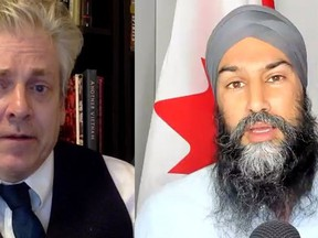 MP Charlie Angus (NDP -- Timmins-James Bay), left, hosted an online town hall this week with federal New Democrat Leader Jagmeet Singh where they discussed the national housing crisis, the government's failure to resolve all long-term drinking water advisories on First Nations among other issues.  Screenshot