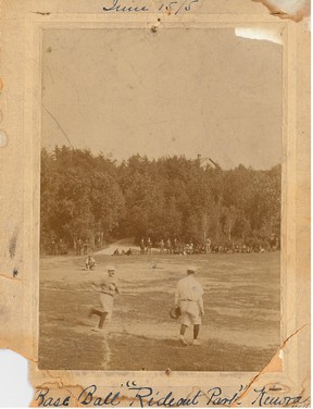 A crowd looks on as George Beatty rounds the bases after hitting a home run during a game held at Rideout Park on June 5, 1915. This Rideout Park baseball field was dug up eight years later to make way for the Kenora paper mill.