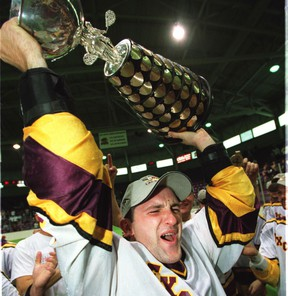 This photo from 2005 shows the celebration following the Brampton Excelsiors defeat of the Victoria Shamrocks in a hard-fought seven-game series to win the Mann Cup.