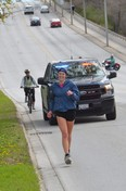 Olivia Duwyn runs along 10th Street East on Saturday, May 1, 2021. Duwyn was running a marathon as part of her fundraiser for child and youth mental health supports at the Owen Sound hospital.