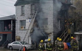 Fire broke out in the basement of a four-unit building on Melvin Street on Monday, displacing several families.