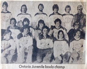 Members of Sudbury's 1976 all-Ontario winning juvenile/intermediate lacrosse team are shown in this newspaper clipping.