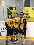 Danny Fehr, Taryn Hutchings and Caden Gulka, pictured as teammates during the Alberta Summer Games, were all selected during the recent Rocky Mountain Lacrosse League's Junior Draft. Photo Supplied