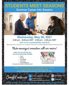 Seasons has summer positions available for students