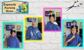Just a few of the happy Espanola Long-term Care residents who were finally able to get a haircut thanks to Diane Duff, part of the Espanola Regional Hospital & Health Centre housekeeping team.