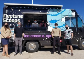 Launch Pad Youth Activity and Technology Centre staff Ashley Hoy, Chris Hoekstra, along with students Abbie Ghent, Karina Hahn and Zanne Stassen, and staff members Justin Graham and Spencer Wright at the social enterprise Neptune Scoops, a ice cream truck that will be operated by eight youths from neighbouring communities. The ice cream truck will be located at Launch Pad. Opening date is May 23.